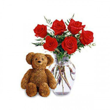 Six Premium Long Stemmed Roses with a Bear
